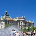 Karlsplatz, also called Stachus, a central Munich square, in Summer.